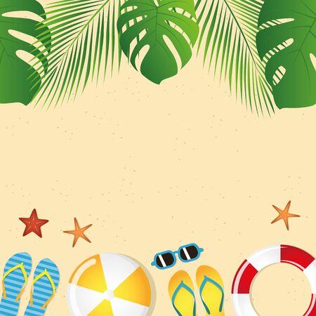 Ilustración de different beach utensils summer holiday background with flip flops sunglasses crab and starfish - Imagen libre de derechos