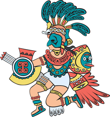 Illustration for Aztec god, color version, cartoon style - Royalty Free Image