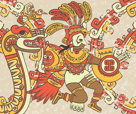 Illustration for Bright background in the Aztec style, Quetzalcoatl, the feathered serpent and bird - Royalty Free Image