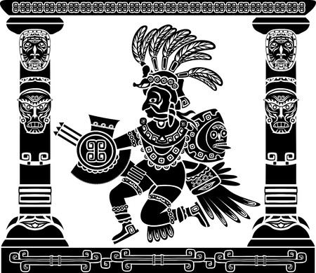 Illustration for Aztec god Quetzalcoatl Native American - Royalty Free Image