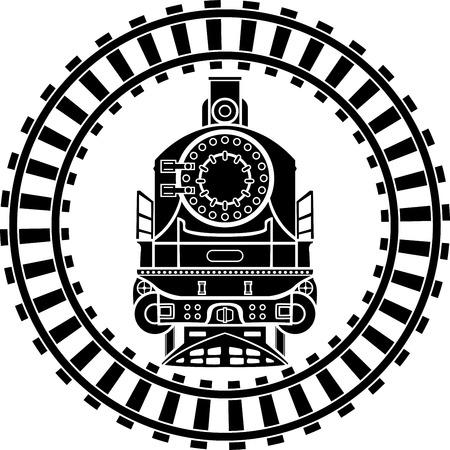 Illustration pour Old steam locomotive railway frame, stencil - image libre de droit
