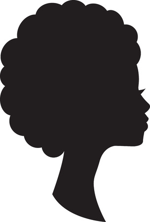 Ilustración de Head in profile of african woman on white background. - Imagen libre de derechos
