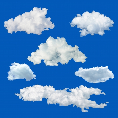 Photo for Set of clouds isolated on blue background - Royalty Free Image