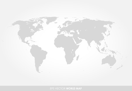 Illustration pour Light gray detailed world map on white background - image libre de droit