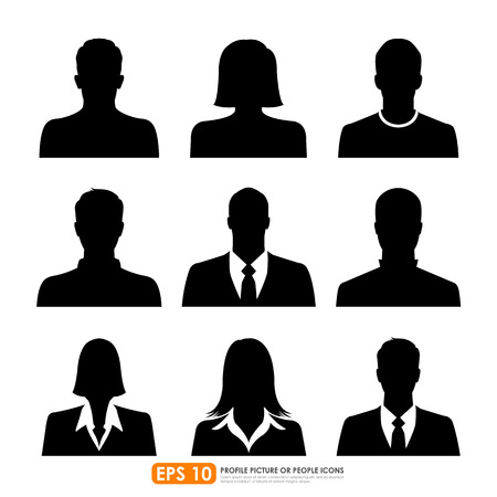 Illustration pour Avatar profile picture icon set including male, female   businesspeople on white background - image libre de droit