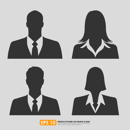 Illustrazione per Businesspeople avatar profile picture set including males   females - on gray  background - Immagini Royalty Free
