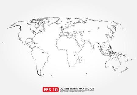 Ilustración de Flat world map outline - Imagen libre de derechos