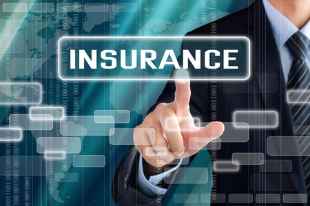 Photo for Businessman hand touching INSURANCE sign on virtual screen - Royalty Free Image