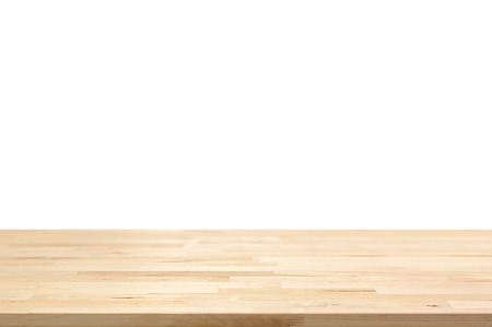 Photo for Wood table top on white background - can be used for display or montage your products - Royalty Free Image