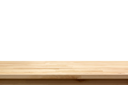Photo pour Wood table top isolated on white background - can be used for display or montage your products - image libre de droit