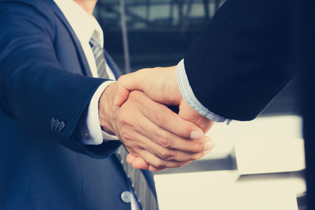 Photo for Handshake of businessmen - greeting, dealing, mergers and acquisition concept - Royalty Free Image