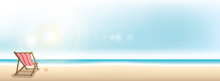 Illustration pour Colorful beach chair on the beach - summer holiday banner background with copy space - image libre de droit