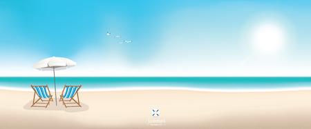 Illustration pour Beautiful summer beach panoramic banner vector background - image libre de droit