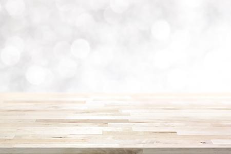 Foto de Wood table top on  abstract white bokeh, Christmas and festive theme background - Imagen libre de derechos