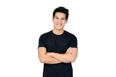 Photo pour Smiling handsome Asian man in casual black t-shirt with arm crossed looking at camera studio shot isolated on white background - image libre de droit