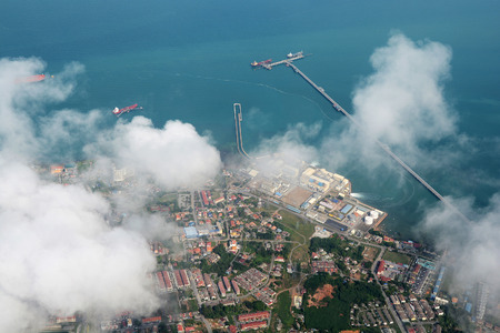 Port Dickson, Malaysia, view from an airplane