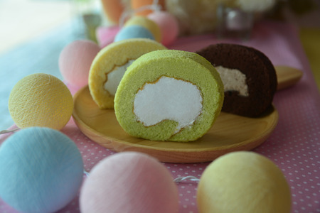 Photo for Slice of Pandan roll cake  - Royalty Free Image