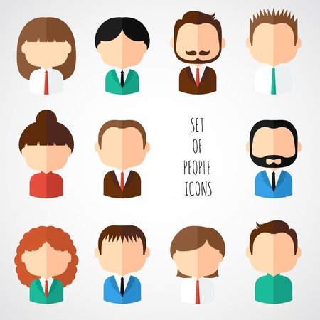 Ilustración de Set of colorful office people icons. Businessman. Businesswoman. Man. Woman. Trendy flat style. Funny cartoon faces characters for your design. Collection of cute avatar. Vector illustration. - Imagen libre de derechos