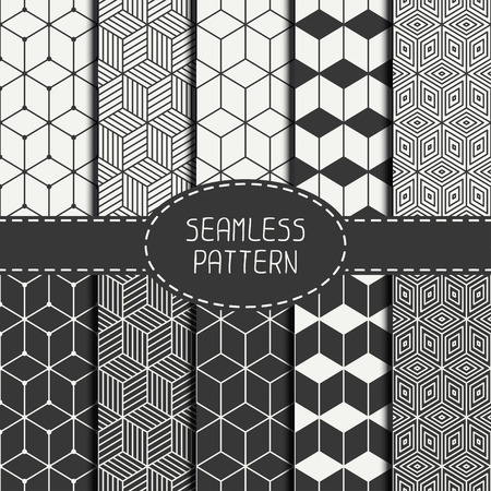 Foto de Set of geometric abstract seamless cube pattern with rhombuses. Wrapping paper. Paper for scrapbook. Tiling. Vector illustration. Background. Graphic texture with optical illusion effect for design. - Imagen libre de derechos