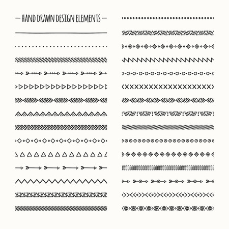 Ilustración de Ethnic hand drawn vector line border set and hipster scribble design element. Native brushes. Aztec geometric monochrome vintage fashion pattern for design. Illustration. Doodle style. - Imagen libre de derechos