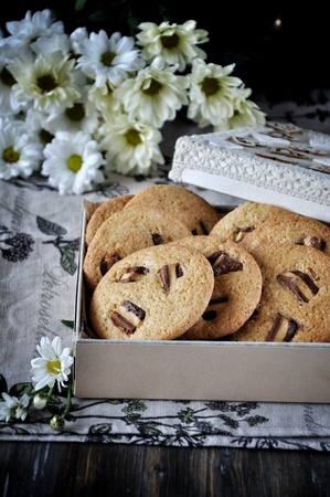 Photo for Oatmeal cookies with chunks of chocolate - Royalty Free Image