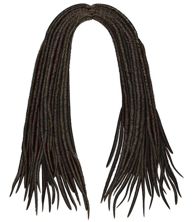 Illustration for trendy african long hair dreadlocks. realistic 3d. fashion beauty style. - Royalty Free Image