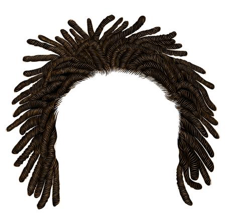 Ilustración de trendy african long  hair dreadlocks .  realistic  3d . fashion beauty style . - Imagen libre de derechos