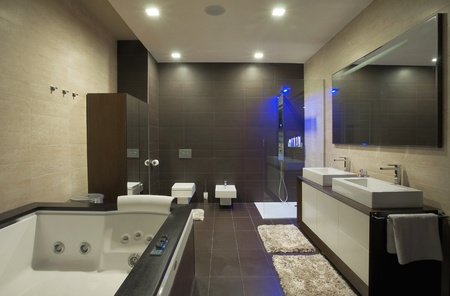 Modern house bathroom interior with simple and expensive furniture.