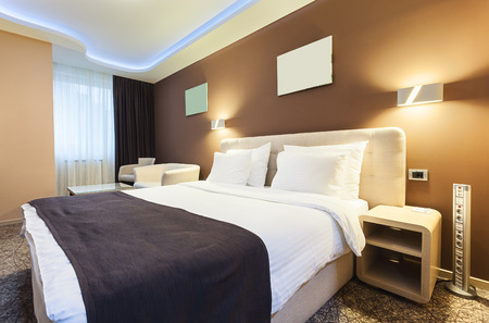 Photo for Interior of a hotel room for two persons. Modern luxury design. - Royalty Free Image