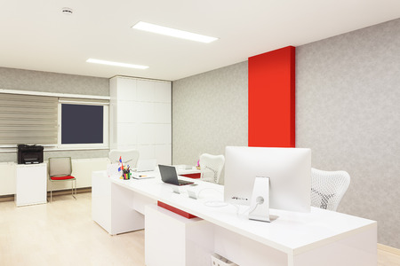 Photo for Interior of a modern office simple with white furniture equipment and walls. - Royalty Free Image
