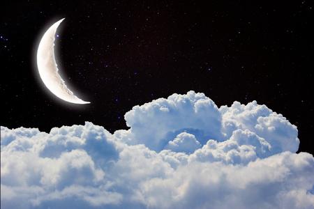 Foto de Romantic Moon In Starry Night Over Clouds. - Imagen libre de derechos