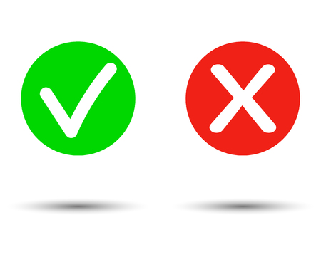 Illustration pour True or false Set of trendy flat check mark and cross icons. Vector illustration isolated on transparent   background. - Vector - image libre de droit