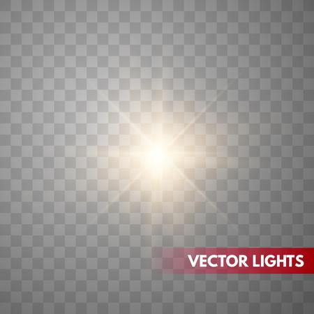 Ilustración de Glowing Light Stars with Sparkles. Golden Light effect.  Vector illustration - Imagen libre de derechos