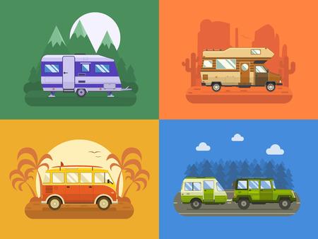 Illustration pour RV travel concept set. Camping trailer family caravan collection. Traveler truck campsite place landscape. Mountain park, desert area, palm beach and road trip. Tourist bus, SUV, trailer and motorhome in flat. - image libre de droit