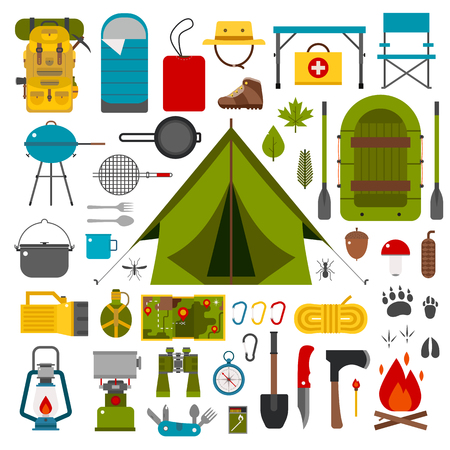 Illustration pour Camping icons collection. Camping kit of hike outdoor elements. Camping gear collection. Binoculars, bowl, barbecue, boat, lantern, shoes, hat, tent and other camping tools and items. Vector on white - image libre de droit