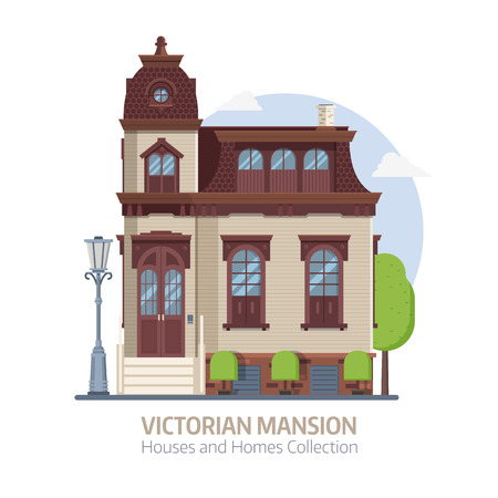 Illustration pour Old mansion building exterior. Classic victorian house or colonial style home with front porch. English manor vector illustration in flat design. - image libre de droit