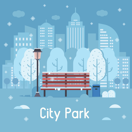 Illustration pour Winter city park landscape with wooden bench, street lamp, trashcan and trees on snow modern city background. Snowy public park banner under snowfall in flat design. Wintertime abstract town scene. - image libre de droit