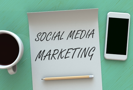 Social Media Marketing, message on paper, smart phone and coffee on table, 3D rendering