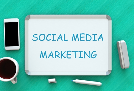 SOCIAL MEDIA MARKETING, message on whiteboard, smart phone and coffee on table, 3D rendering