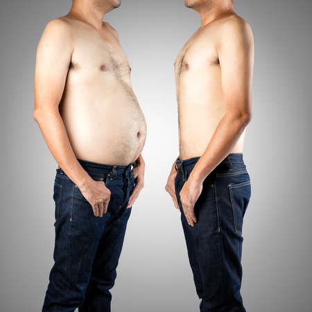Foto de Fat and slim man opposite each other, Isolated on gray background - Before and after diet - Imagen libre de derechos