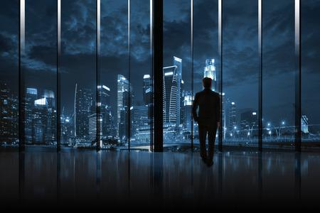 Businessman Cityscape Skyline Night Light Vision Concept