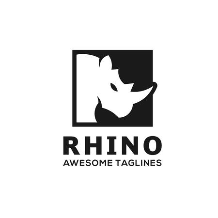 Illustration for Rhinoceros, Rhino Logo. Business template, Rhinos head logo for sport club or team. Animal mascot logotype. Template. Vector illustration. - Royalty Free Image