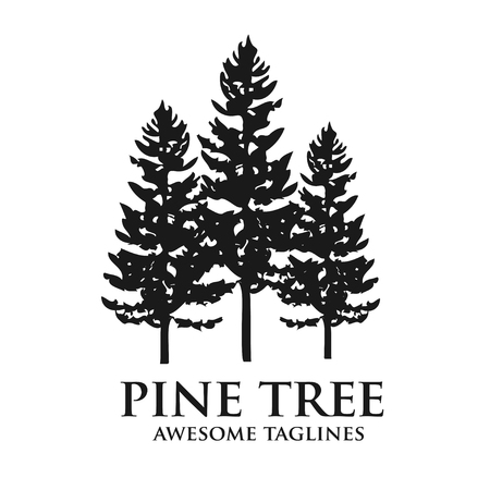 Illustration for Tree outdoor travel green silhouette forest logo coniferous natural badge tops pine spruce branch cedar and plant leaf abstract stem drawing vector illustration. Panorama scene horizon decoration. - Royalty Free Image