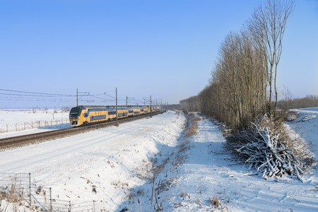 Foto per Dutch train in snowy winter landscape - Immagine Royalty Free
