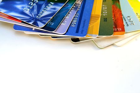 colorful credit cards on a light background