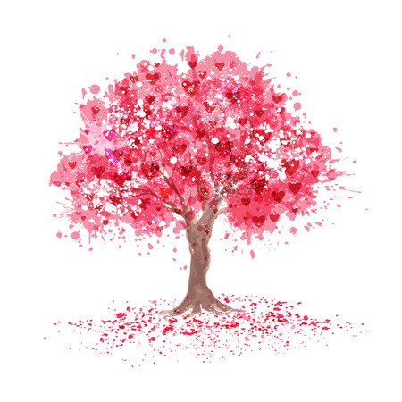 Illustration pour Cherry blossom tree with hearts symbols in abstraction style. - image libre de droit