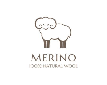 Ilustración de Merino wool icon. Vector sheep logo template. 100 percent natural product isolated symbol - Imagen libre de derechos
