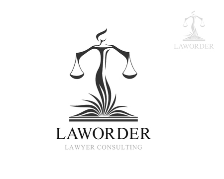 Illustration for Themis with balance on the law book - Royalty Free Image