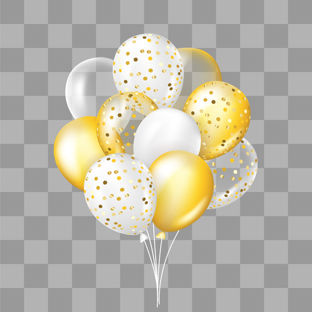 Illustration pour White and gold, transparent and with confetti balloons bunch. Decorations in realistic style for birthday, anniversary or party design. - image libre de droit