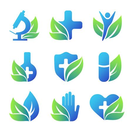 Ilustración de Nature healthcare emblems collection. Conceptual medical icons. - Imagen libre de derechos